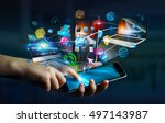 tech devices and icons... | Shutterstock . vector #497143987