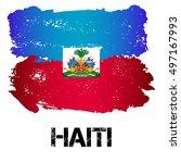 flag of haiti from brush... | Shutterstock .eps vector #497167993