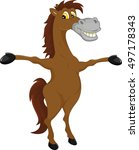 horse cartoon waving | Shutterstock . vector #497178343