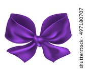 Purple Bow Isolated On White...