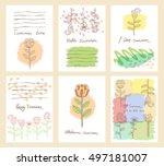set of six cute universal cards ... | Shutterstock . vector #497181007