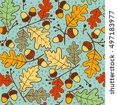 Autumn Seamless Pattern Of Oak...