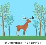 red deer in the forest.... | Shutterstock . vector #497184487