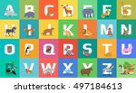 animals alphabet. letter from a ... | Shutterstock . vector #497184613