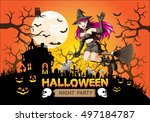 halloween night party witch on... | Shutterstock .eps vector #497184787