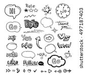 vector hand drawn set of speech ... | Shutterstock .eps vector #497187403
