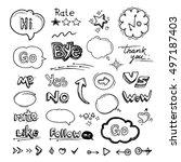 vector hand drawn set of speech ... | Shutterstock .eps vector #497187403
