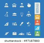 education icon set. vector | Shutterstock .eps vector #497187883