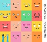 set of emoji  emoticons flat... | Shutterstock .eps vector #497189923