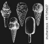 hand drawn ice cream set sketch ... | Shutterstock . vector #497190637