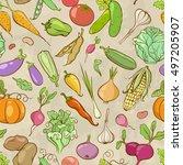 vintage cartoon seamless... | Shutterstock .eps vector #497205907