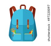blue backpack schoolbag icon in ... | Shutterstock .eps vector #497220097