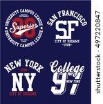 varsity college vector label... | Shutterstock .eps vector #497220847
