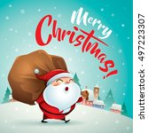 merry christmas  santa claus in ... | Shutterstock .eps vector #497223307