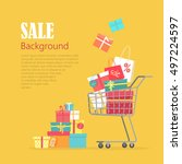 sale background. cart with gift ... | Shutterstock .eps vector #497224597