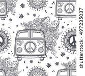 hippie vintage car a minivan.... | Shutterstock .eps vector #497235037