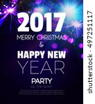 christmas party poster. happy... | Shutterstock .eps vector #497251117