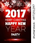 christmas party poster. happy... | Shutterstock .eps vector #497251297