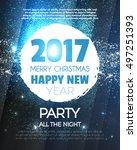 christmas party poster. happy... | Shutterstock .eps vector #497251393