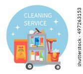 cleaning service trolley.... | Shutterstock .eps vector #497263153