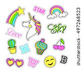 pop art set with fashion patch... | Shutterstock .eps vector #497268523