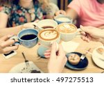 Group Of Women Drinking Coffee...