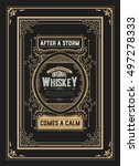 old whiskey label with vintage... | Shutterstock .eps vector #497278333
