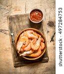 Fresh Shrimp With Sauce. On A...