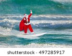 santa claus windsurfer with... | Shutterstock . vector #497285917
