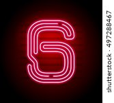 realistic red neon number.... | Shutterstock .eps vector #497288467