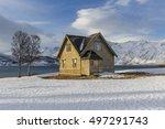 old wooden house on ullsfjord ... | Shutterstock . vector #497291743