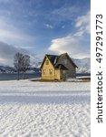 old wooden house on ullsfjord ... | Shutterstock . vector #497291773