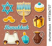 set of jewish hanukkah... | Shutterstock .eps vector #497306737