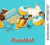 jewish hanukkah celebration... | Shutterstock .eps vector #497306767