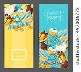 jewish hanukkah celebration... | Shutterstock .eps vector #497306773