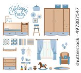 set baby room elements. nursery ... | Shutterstock .eps vector #497307547