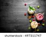 berry smoothies with different... | Shutterstock . vector #497311747