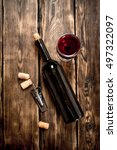 bottle of red wine with a... | Shutterstock . vector #497322097