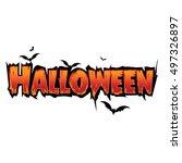 happy halloween text banner...   Shutterstock .eps vector #497326897