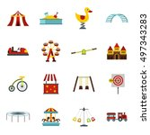 amusement park icons set in... | Shutterstock . vector #497343283