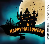 halloween night background with ... | Shutterstock .eps vector #497344777