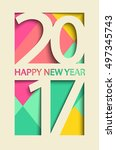 new 2017 year greeting card ... | Shutterstock .eps vector #497345743