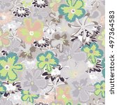 seamless floral pattern.... | Shutterstock .eps vector #497364583