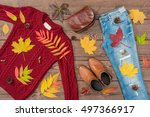 women's autumn outfit on wooden ... | Shutterstock . vector #497366917