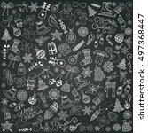 set of chalk drawing artistic...   Shutterstock .eps vector #497368447