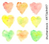 watercolor heart shaped stains... | Shutterstock .eps vector #497369497