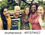 group of women socialize... | Shutterstock . vector #497374417
