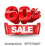 60 percent off sale red ribbon... | Shutterstock .eps vector #497376667