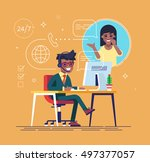 african american helpline... | Shutterstock .eps vector #497377057