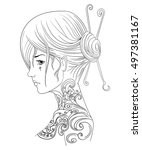 girl with big tattoo | Shutterstock .eps vector #497381167